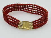 Vintage 18k Gold Italy Red Coral 5 Row Beaded Bracelet