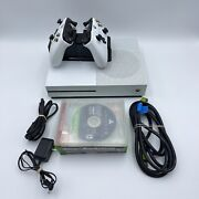 Microsoft Xbox One S 500gb 1681 White Console 2 Controller Base Charger Games