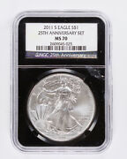 2011-s Silver American Eagle Ngc Ms70 25th Anniversary Set 1