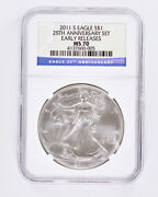 2011-s Silver American Eagle Ngc Ms70 Early Releases 25th Anniversary Set 1