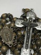 † Vintage Way Of The Cross Stations Double Sided Inlay Cross Rosary 30 1/2 †