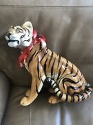 Large Mid Century Signed Ronzan Italy Tiger Porcelain Figurine Perched Sitting