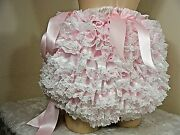Adult Baby Sissy All Round Frilly Satin Diaper Cover Panties Fancydress Cosplay