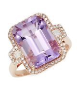 New Amethyst Diamond And 14k Rose Gold Rectangle Ring / Effy/ Size 7/ 2800