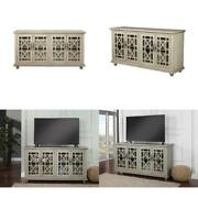 Marche Antique Silver Glass Tv Stand Fits Tvs Up To 65 In. Cable Management