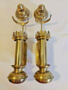 Pair Of Vintage Brass Wall Sconce Train Candle Lantern Holder Railroad