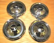 1957 Chevy Hub Caps With Raised Crest Emblems 150-210 Models Set Of 4