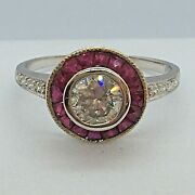 Art Deco Style 1 Carat Tcw Modern Diamond And Ruby Target Halo Engagement Ring