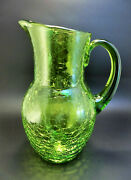 Vintage Hand Blown Green Crackle Art Glass Large Water Pitcher