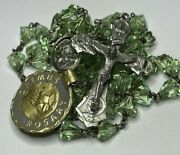 † Nwt Vintage Sterling Green Coned Shaped Rosary Necklace 31 1/2 And Music Box †