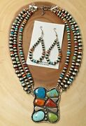 3 Strand Navajo Necklace And Earrings Set Navajo Pearl Sterling Silver 25 Long