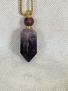 Amethyst Point Essential Oil Necklace Perfume Bottle Faceted Point And Gold Chain