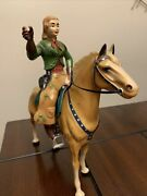 Vintage Plastic Hartland Large Size Horse And Rider Cowgirl Champ
