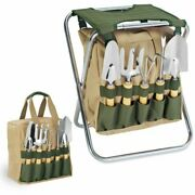Gardener 5-piece Garden Tool Set With Tote And Folding Seat
