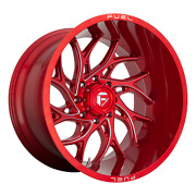 24x12 4 Wheels Rims Fuel 1pc D742 Runner Candy Red Milled -44mm 8x6.69