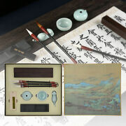 Chinese Calligraphy Practice Set Gift Boxed W/ Brush Pen Ink Paper Inkstone