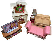 Vintage Fisher Price Living Room Lot Couch Fire Place Tv Stand Chaise L25