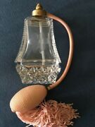 Vintage Etched Glass Perfume Atomizer With Pink Ball And Tassel