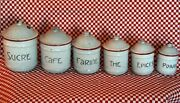 Fab Art Deco 6pc French Antique Canister Set Red And Gray Vintage Enamelware