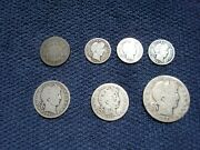 6 Us Silver Barber Coins + 1870 Shield Nickel 1906 S Half, Two Quarters,3 Dimes