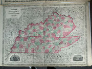 Vintage Lot 4 Of 1860s Alvin J. Johnson's Kentucky And Tennessee Antique Maps