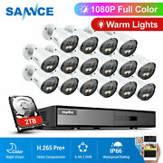 Sannce 16ch 5in1 Dvr 16x 1080p Color Day Night Video Security Camera System 2tb
