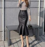 Womens Black Long Slim Fishtail Sexy Skirts Faux Leather Wrap Party Dress 2020