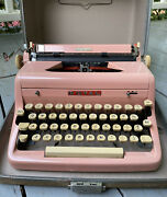 Vintage Royal Quiet Deluxe Pink Portable Typewriter With Original Case 1950's