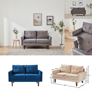 Modern Tufted Velvet 2-seat Couch Loveseat Sofa Thick Cushion Accent Arm 3 Color