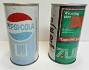Lot Of 2 Vintage Pull Tab Soda Can Collection Pepsi And 7 Up 7up 60s Or 70s