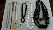 Lot Antique Vtg Costume And Finer Jewelry Necklaces Monet Cameo Jr14-8
