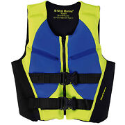 West Marine Deluxe Youth Rapid-dry Life Vest Lime/blue 50-90 Lbs