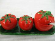 Occupied Japan Tomato Salt And Pepper Shakers Mustard Jar W/spoon On Tray