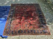 Antique Sarouk Oriental Rug 108 By 141 With Red Field And Blue Border