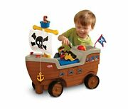 2-in-1 Pirate Ship Ride-on Toy And Playset - Kids Ride-on Boat With Wheels