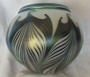 Rare Rolled Rim Charles Lotton Hooked Pulled Feather Art Glass Bowl - Dated 1997