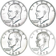 1972 P D S S Eisenhower Dollar Year Set Silver Proof And Bu Us 4 Coin Lot