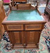 Antique 1898 New Home Victorian Walnut Leather Top Sewing Machine Cabinet