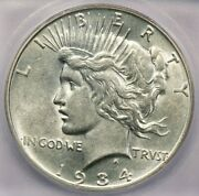 1934-d 1934 Peace Dollar 1 Icg Au55 Details Really Flashy And Lustrous