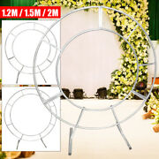 Round Metal Wreath Arch Backdrop Stand Wedding Party Decoration Background White