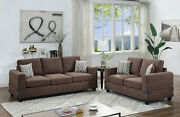 Chocolate Chenille 2 Pc Sofa Set Sofa Loveseat W Pillows Living Room Plush Couch
