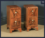 Antique Pair Of English Art Deco Figured Walnut Bedside Chest Tables Nightstands