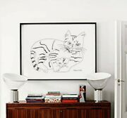 Andy Warhol Cats Sketch Black And White Minimalist Poster Abstract Wall Art