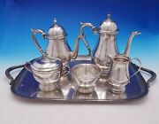 Exemplar By Watson Sterling Silver Tea Set 5-piece With Silverplate Tray 4574