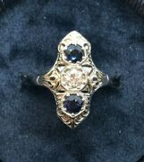 Sapphire 1ct And .35ct Old Euro D/vvs1 Diamond 18k Art Deco - Cad S7.25 Ring 5.6g