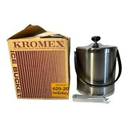 Kromex Ice Bucket Satin Pewter 629-20 Holiday Includes Tongs And Box Mcm Retro