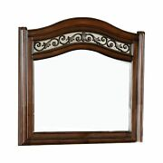 Wooden Mirror With Carvings And Molded Details, Brown