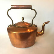 Vintage Oversized Copper And Brass Goose Neck Tea Kettle Pot Marked 6 Dove Tailed