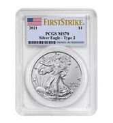 Presale 2021 1 Type 2 American Silver Eagle Pcgs Ms70 First Strike Flag Label