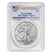 Presale 2021 1 Type 2 American Silver Eagle Pcgs Ms69 First Strike Flag Label